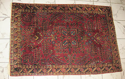 """Antique SAROUK Hand Made, Hand tied Persian Wool Rug ca. 1920s < 5'3"""" x 3'6"""">"""
