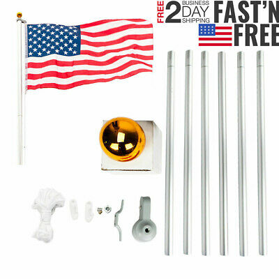 25 FT Heavy Duty Flag Pole Inground Residential Flagpole Kit & US American Flag