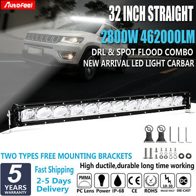 2800W 32'' INCH LED WORK LIGHT BAR Carbar DRL Combo Off Road 4X4 Truck 34'' Silm