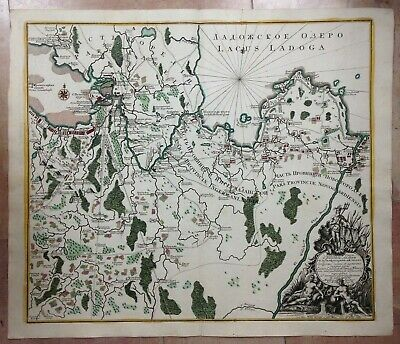 ST PETERSBURG LAKE LADOGA IN CYRILLIC by SEUTTER 1741 UNUSUAL LARGE ANTIQUE MAP