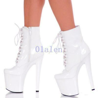 Sexy Nighclub Womens Platform Ankle Lace Up Boots Shiny Patent Stilettos Shoes