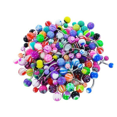 100x Mixed Color Belly Button Navel Rings Barbell Body Piercing Jewelry Welcome