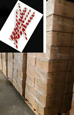 5000pcs Paper Straws White Red Eco-Friendly 6mm 7 3/4'' Party Drinking Straw