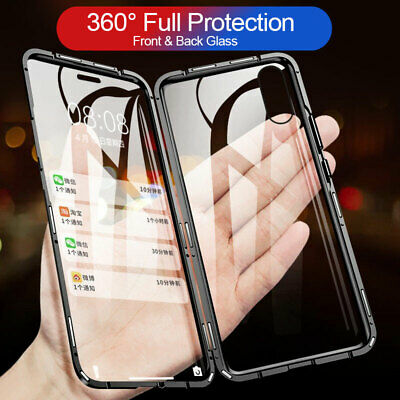For iPhone Xs Max XR 8Plus Case Cover Tempered Glass Magnetic Adsorption Protect