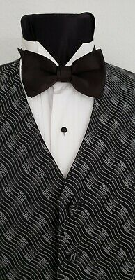 f2fb9a4949f0 MEN'S VINTAGE BLACK Satin Tuxedo Vest, New Bow Tie Victorian Dickens ...