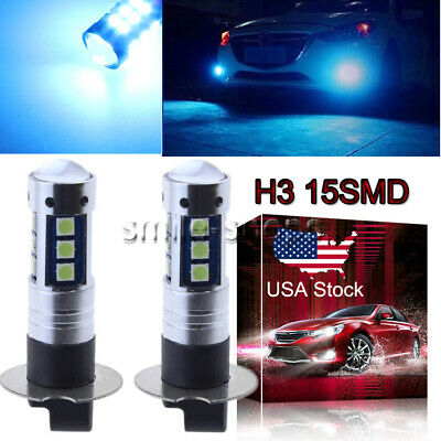 H3 3030 15SMD LED Fog Light Bulbs Conversion Kit High Power 8000K Ice Blue US