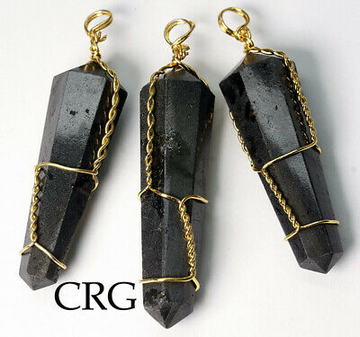Gold Plated Wire Wrapped Double Term. Black Tourmaline Point Pendant (WW19DG)