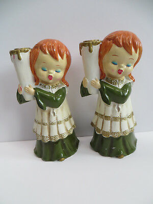 Vintage Kitsch Choir Girl Candle Holders Japan Paper Mache Christmas Decorations