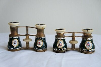 Two Pairs of 19th Century French Enamel Opera Glasses (Almost Matching)