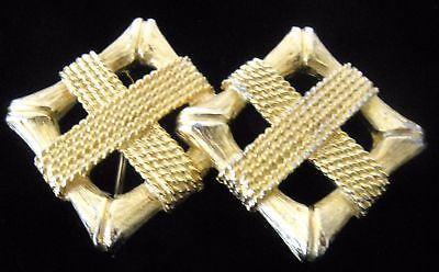 Vintage Signed 1980'S MIMI DI N Rare Gold Plated Squares Belt Buckle