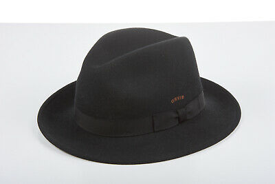 7ebb80be Mens ORVIS Black Fedora Hat 7 1/2 Onyx Black Original LITE FELT Wool Fedora