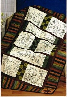 Redwork Nursery Rhyme Quilt Kit Hey Diddle Diddle