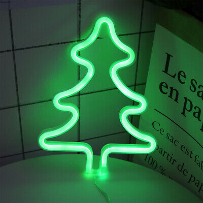 Christmas Tree Neon Sign Battery USB Operated Night Lights Room Wall Decoration