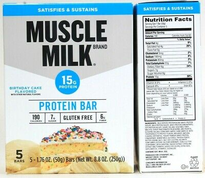 2 Boxes Muscle Milk 88 Oz Birthday Cake Flavor 15G Protein 5 Ct Bars BB 6