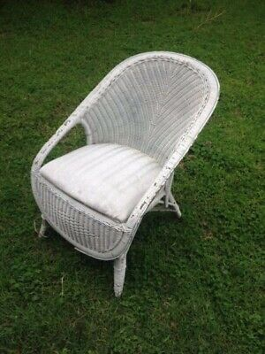Vintage shabby chic white wicker cane chair