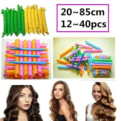 25~85cm Magic Curlers Long Hair 12~40pcs Spiral Curl Formers Leverage Rollers AU