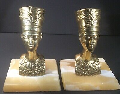 Egyptian Queen Nefertiti  Matching Set Of Two Brass Busts On An Albaster Base