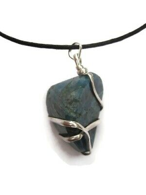Natural Polished Apatite Wire Wrapped Pendant w/ Cord Necklace Gemstone Crystal