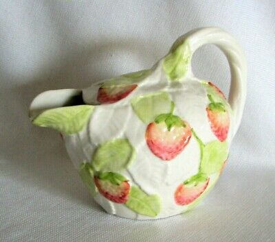 San Marco Nove Italy Strawberry Leaves Pitcher - EXC - Red White Green Ceramic