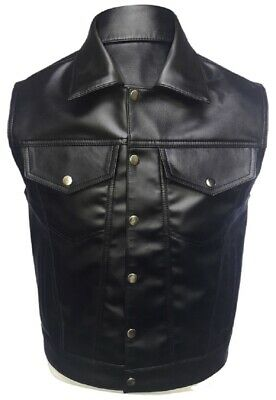 Mens Biker Vest Genuine Cow Leather Black Motorcycle Waistcoat