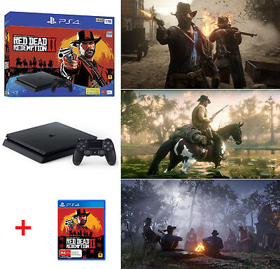 1TB PS4 Playstation 4 Slim Red Dead Redemption 2 II Game System Console Bundle