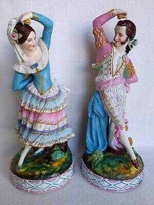 Pair bisque porcelain figurines Chantilly France 19 century