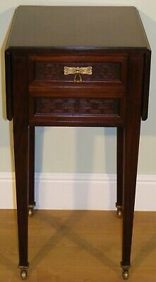 Good Quality Antique Mahogany Drop Flap Wine Side Occasional Work Table