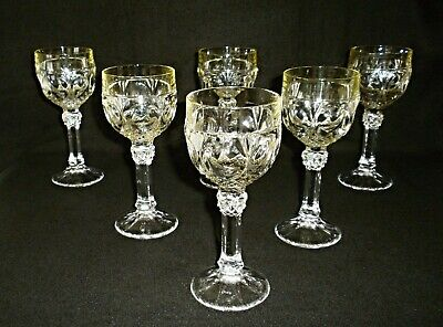 Rare Antique BACCARAT Clear Crystal & Lime Green 6 x  Wine Goblet w/ Great Cut