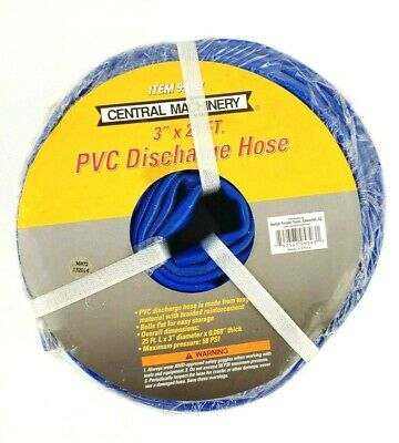 "Central Machinery PVC Discharge Hose 3"" x 25 ft Braided Reinforcement Blue 95393"