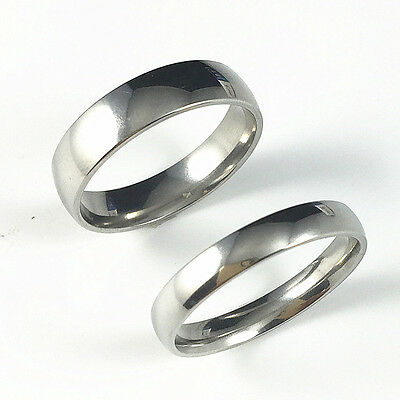 316L Stainless Steel Mirror Polished Classic Wedding Band Couple Ring Size 5-12