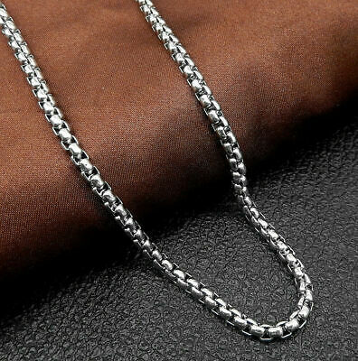 """Men Women's Silver Stainless Steel 4mm Box Rolo Link Chain Necklace 20-32"""""""