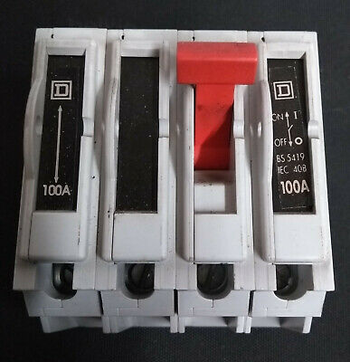 Square D QO4100MN 100A 4 pole Main Switch Disconnector  BS5419
