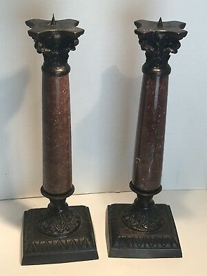 Antique19th Century Pair of Marble and Bronze Candlesticks