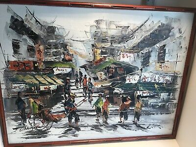 Oil On Canvas Abstract Painting Singed Cheng