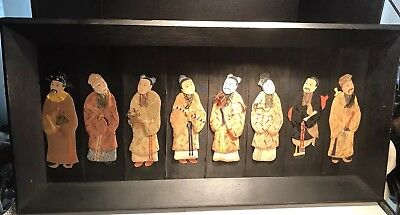 19th Century Chinese Immortals From Silk And Paper Screen Hand Painted Wall Art