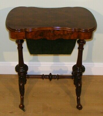 Good Quality Antique 19Th Century Burr Walnut Side Occasional Work Table