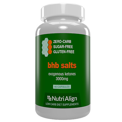 BHB Salts Exogenous Ketones. Boosts Ketosis, Energy and Mental Focus. 60 caps.