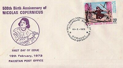 Pakistan Fdc 1973 Birth Anny of Nicholas Copernicus Astronemer