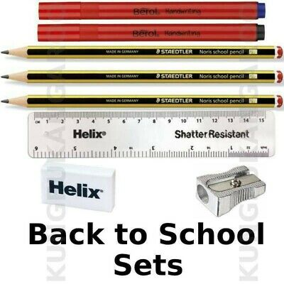 BACK TO SCHOOL SET - Staedtler Noris HB Pens and Pencils Eraser Ruler Sharpener