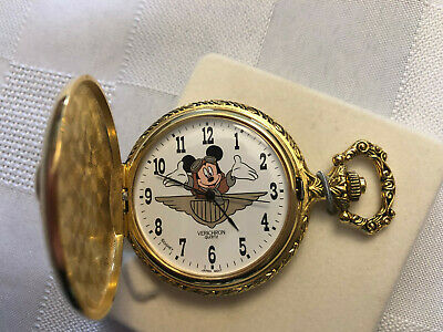 VERICHRON DISNEY MICKEY MOUSE POCKET WATCH Gold Aviator NEW BATTERY INSTALLED