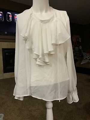 Liz Claiborne Sz 12 White Sheer Long Sleeve Blouse with Ruffled Front & Sleeves