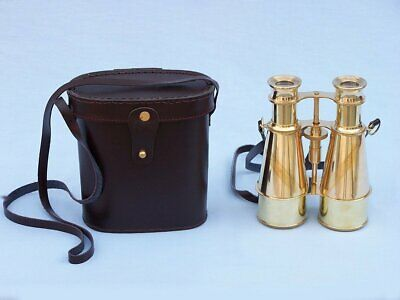 Vintage Brass Binocular Nautical Maritime Collectible With Leather Case Free