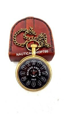 Nautical Pocket Watch Brass Marine Chain Clock Best Gifting Item With Box