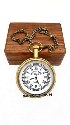 Marine Brass Pocket Chain Watch Collectible Nautical Clock Friend Gift With Box