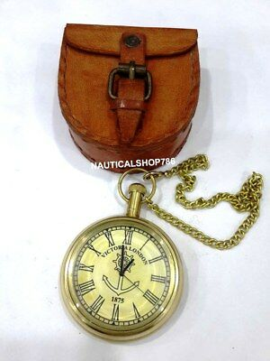 Vintage Brass Victoria London 1875 Pocket Nautical Watch With Case Gifting Item
