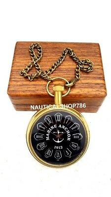 Nautical Pocket Watch Brass Marine Chain Clock Collectible Gifting Item & Box