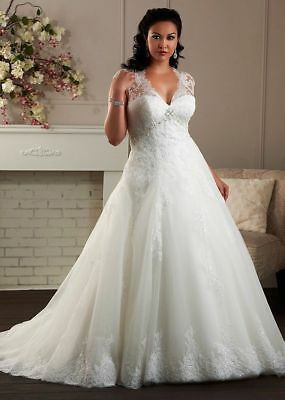 2019 Plus Size White/Ivory Lace Wedding Dress Bridal Gown Stock Plus Size 14--26