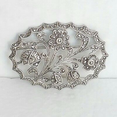Vintage Antique Brooch Pin Sterling Silver 925 Victorian Genuine Marcasite