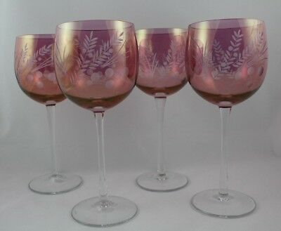 Vintage Set of 4 Cranberry Glass Wine Glasses Stems Stemware with Etched Flowers