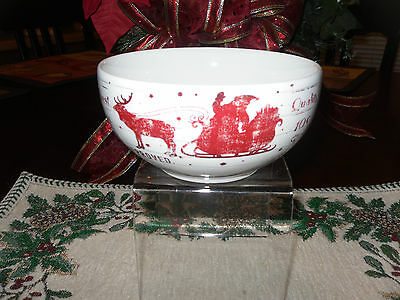 """222 Fifth """"Santa Company"""" Set Of 4 Soup Cereal Bowls Reindeers North Pole Sleigh"""